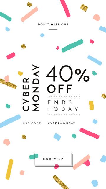 Cyber Monday Sale Bright and Shiny Confetti Instagram Story – шаблон для дизайну