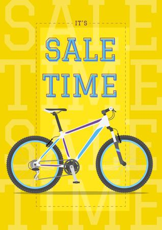 Sale Announcement Modern Blue Bicycle on Yellow Poster Design Template