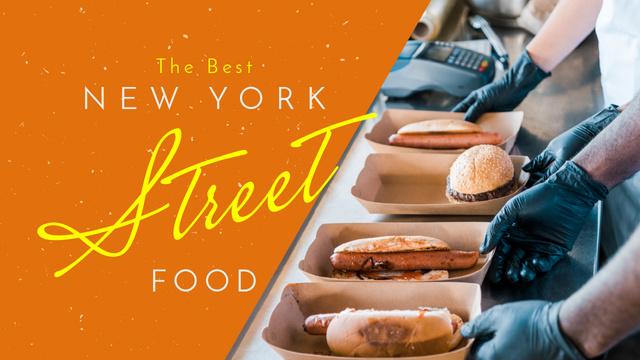 Ontwerpsjabloon van Youtube Thumbnail van Street Food Guide Tasty Burgers and Hot Dogs