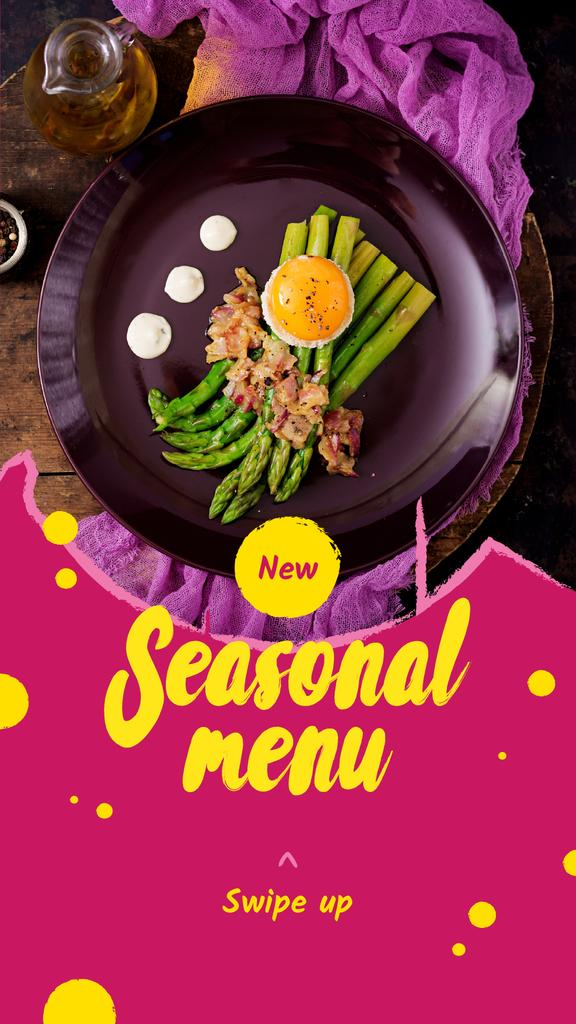 Seasonal Menu Ad with Asparagus and Egg — Modelo de projeto