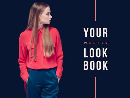 Template di design Weekly lookbook Ad with Stylish Girl Presentation