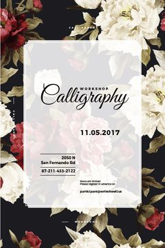 calligraphy workshop poster with flowers