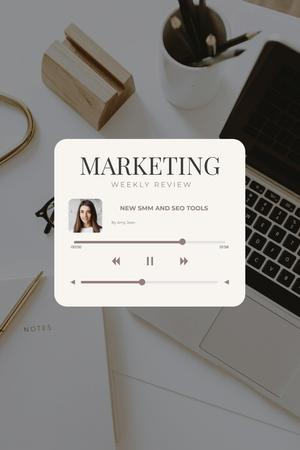 Ontwerpsjabloon van Pinterest van Podcast with Marketing weekly review