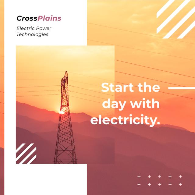 Plantilla de diseño de Electric power lines at sunset Instagram AD