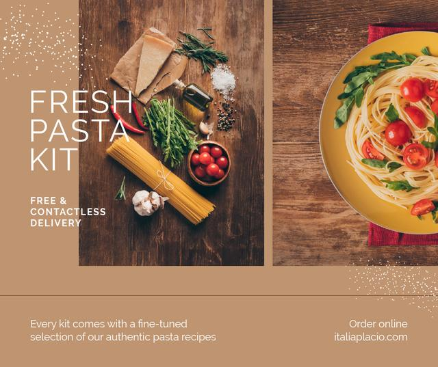 Ontwerpsjabloon van Facebook van Fresh Pasta Kit Delivery Offer