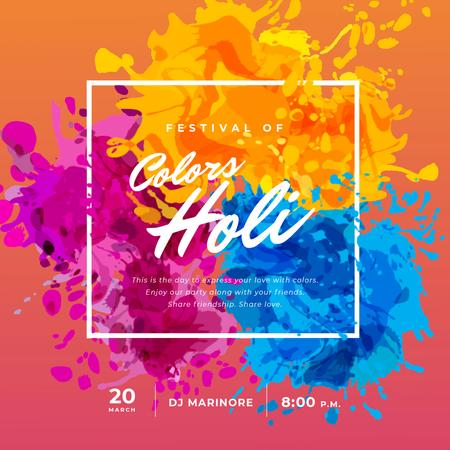 Indian Holi Festival with Colourful Frame Animated Post Design Template