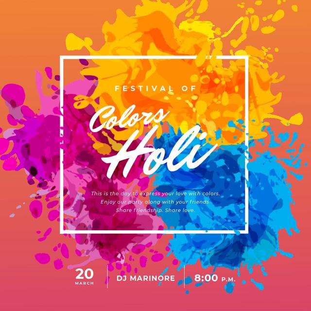 Indian Holi Festival with Colourful Frame Animated Post – шаблон для дизайну