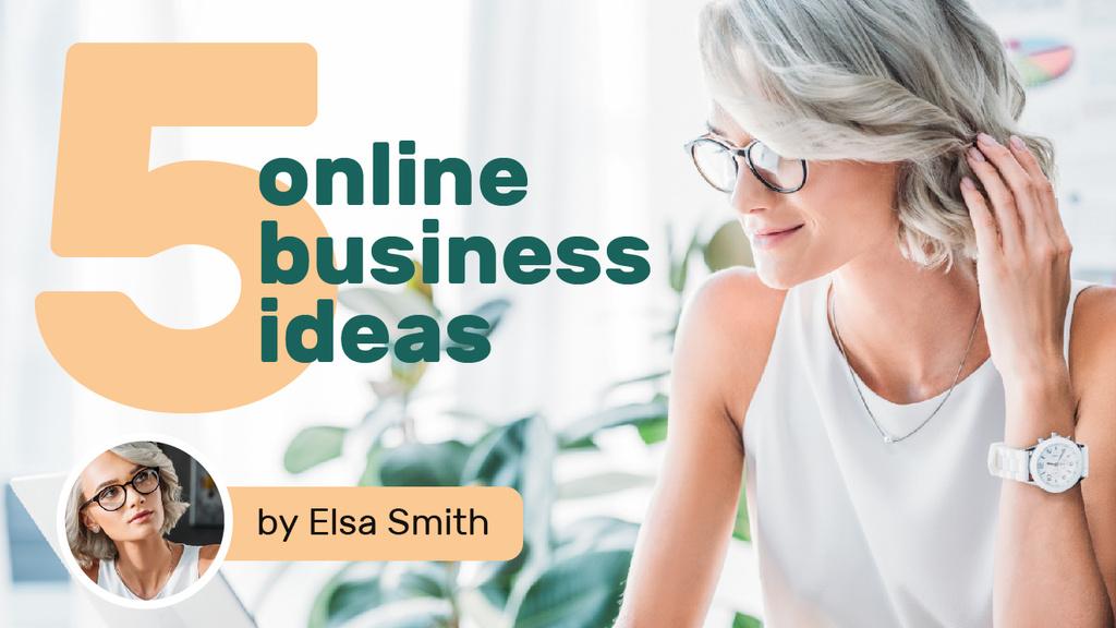 Business Ideas Young Businesswoman in Light Office | Youtube Thumbnail Template — Создать дизайн