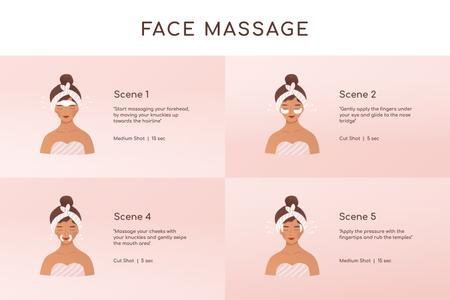 Plantilla de diseño de Woman relaxing at Face Massage Storyboard