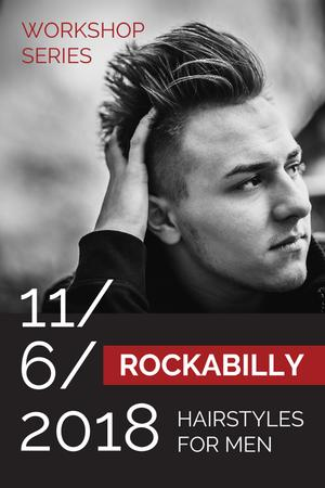Szablon projektu Workshop announcement Man with rockabilly hairstyle Tumblr