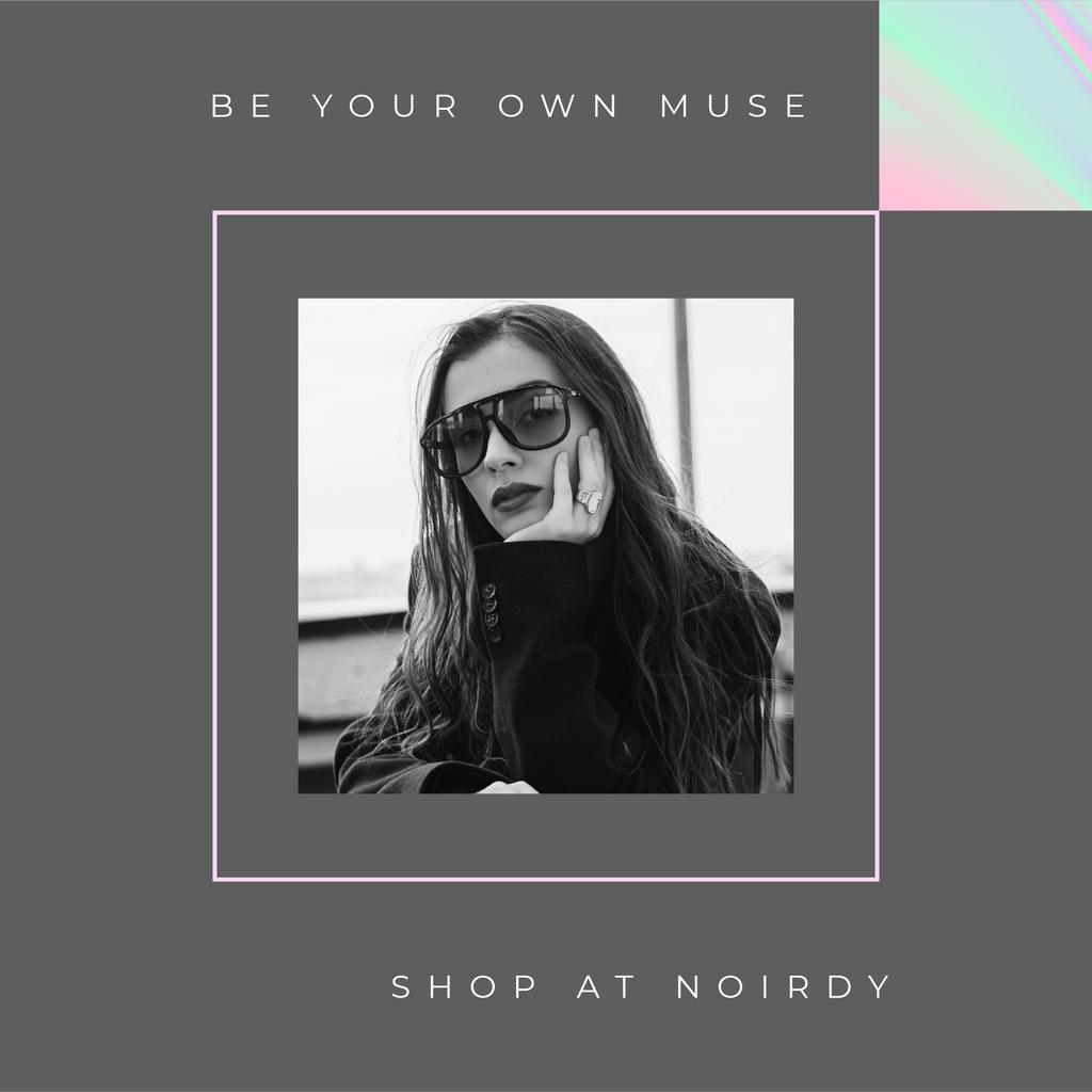Fashion Store ad Stylish woman wearing Sunglasses Instagram Design Template