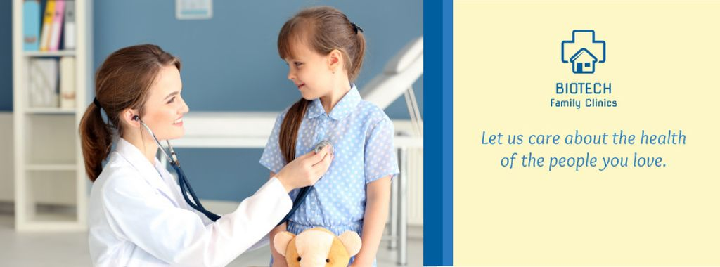Kids Healthcare Pediatrician Examining Child   Facebook Cover Template — Создать дизайн