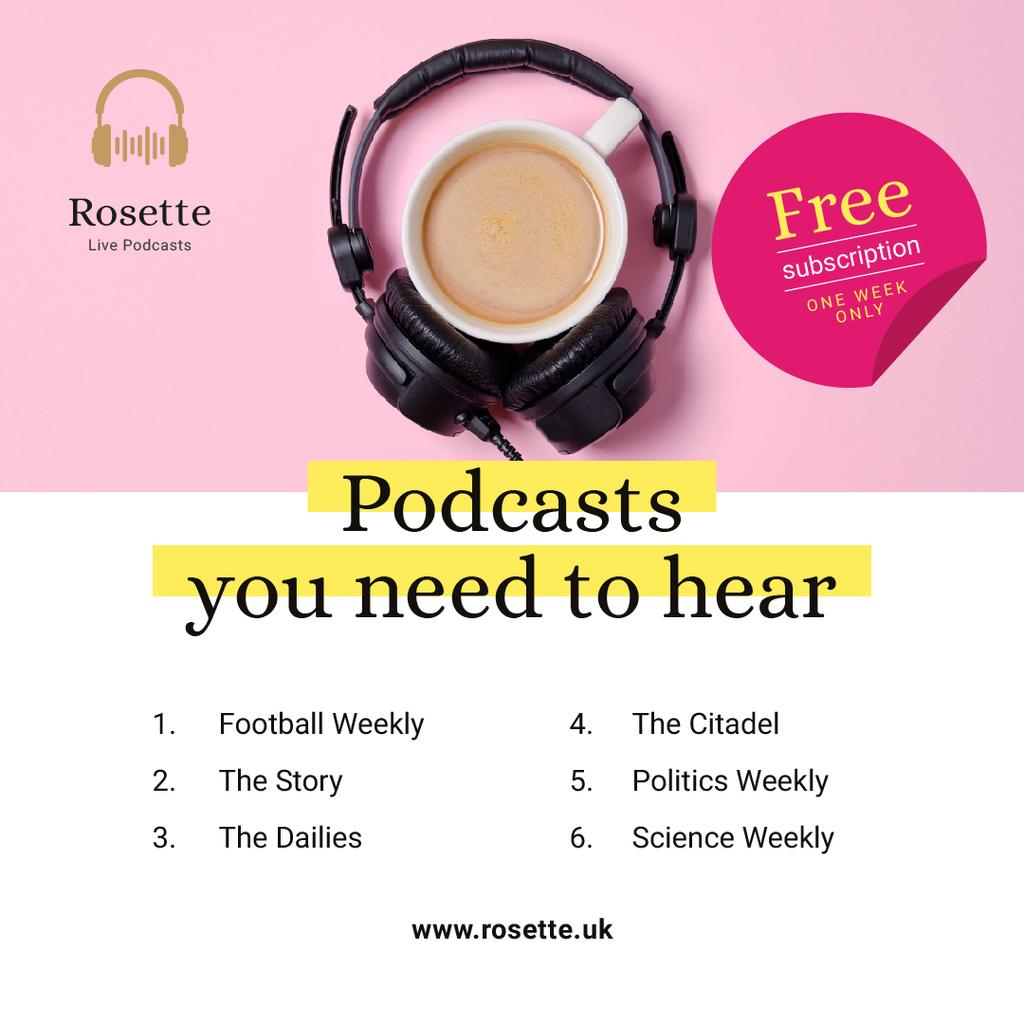 Podcast Ad Headphones on Cup of Coffee in Pink — Створити дизайн
