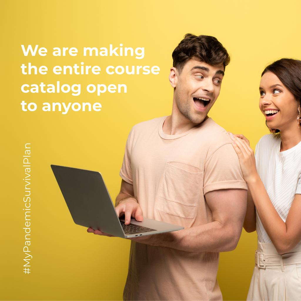 #MyPandemicSurvivalPlan with Happy Couple holding laptop — Crea un design