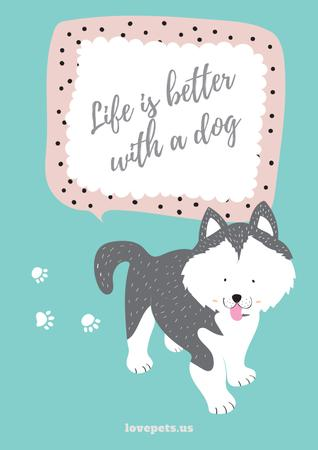 Szablon projektu Pet adoption with Cute Dog illustration Poster