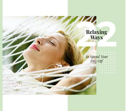 Relaxing Tips with Woman Resting in Hammock Facebook Design Template
