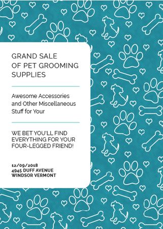 Template di design Pet Grooming Supplies Sale with animals icons Invitation