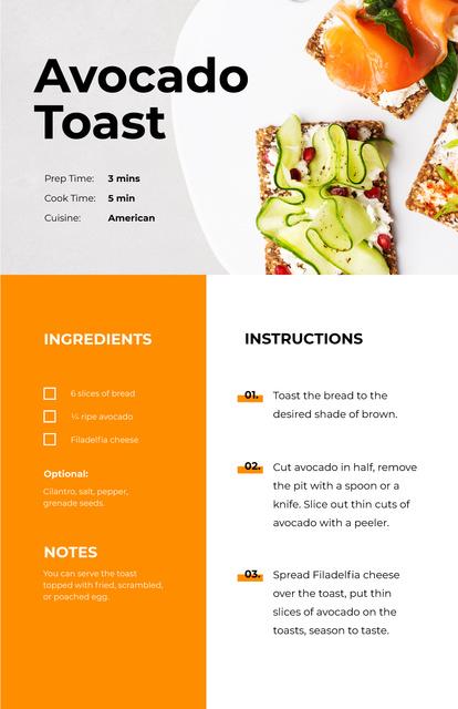 Plantilla de diseño de Delicious Avocado Toast Recipe Card
