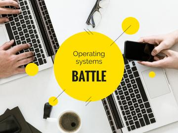 Operating Systems Battle People Working on Laptops | Presentation Template
