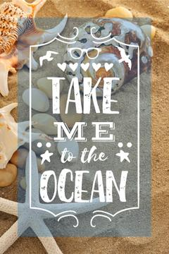 Vacation Theme Shells on Sandy Beach | Pinterest Template