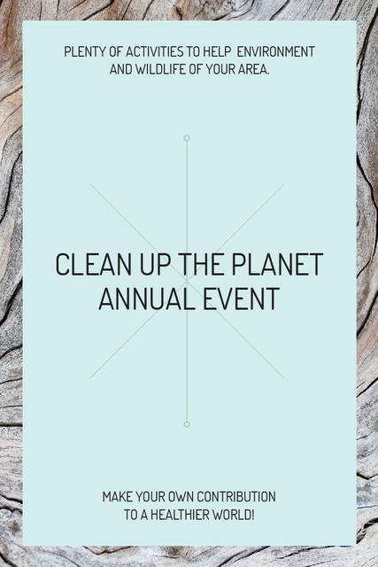 Clean up the Planet Annual event Pinterest Tasarım Şablonu