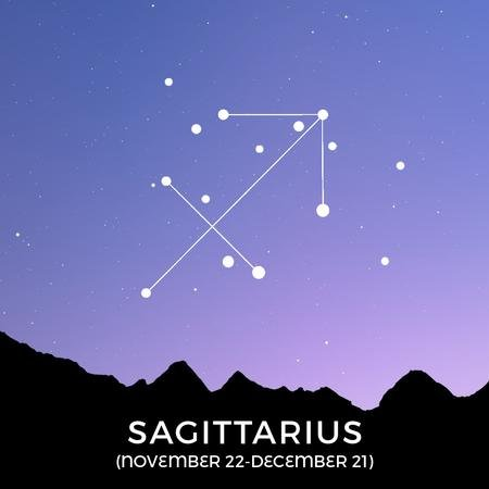 Night Sky with Sagittarius Constellation Animated Post – шаблон для дизайну