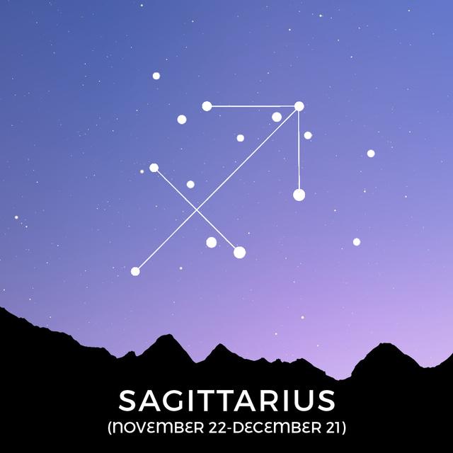 Night Sky with Sagittarius Constellation Animated Post – шаблон для дизайну