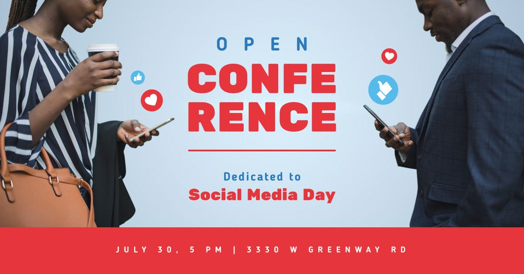 Social Media Day Conference Invitation People Using Phones | Facebook Ad Template — Створити дизайн
