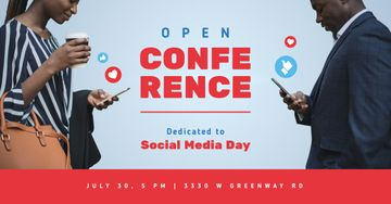 Social Media Day Conference Invitation People Using Phones | Facebook Ad Template
