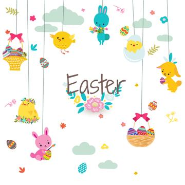 Cute animals as Easter decorations
