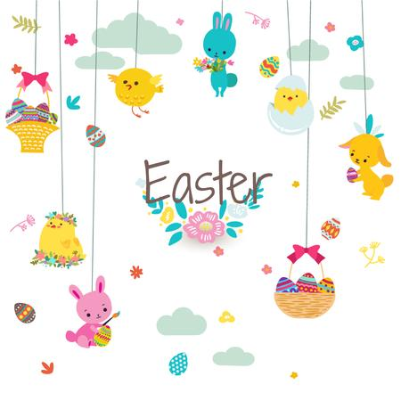 Modèle de visuel Cute animals as Easter decorations - Animated Post