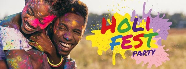 Indian Holi festival and Party Facebook cover – шаблон для дизайну