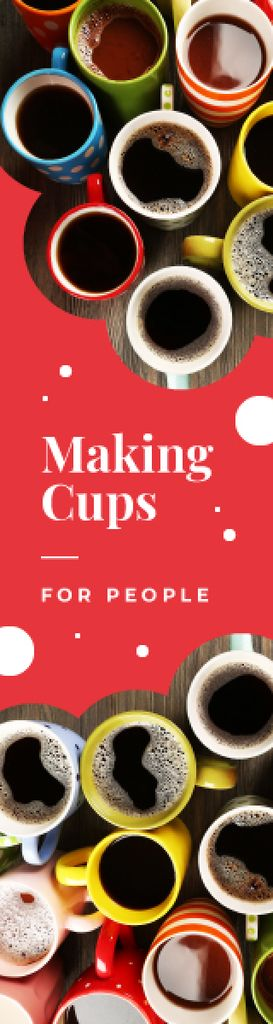 Cafe Promotion Cups with Hot Coffee Skyscraper Design Template