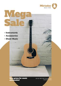 Musical Instruments Sale Wooden Guitar | Poster Template