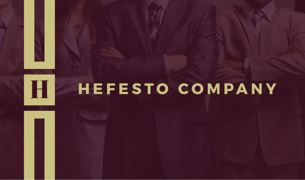 Company Confident Workers in Suits | Business Card Template — Створити дизайн