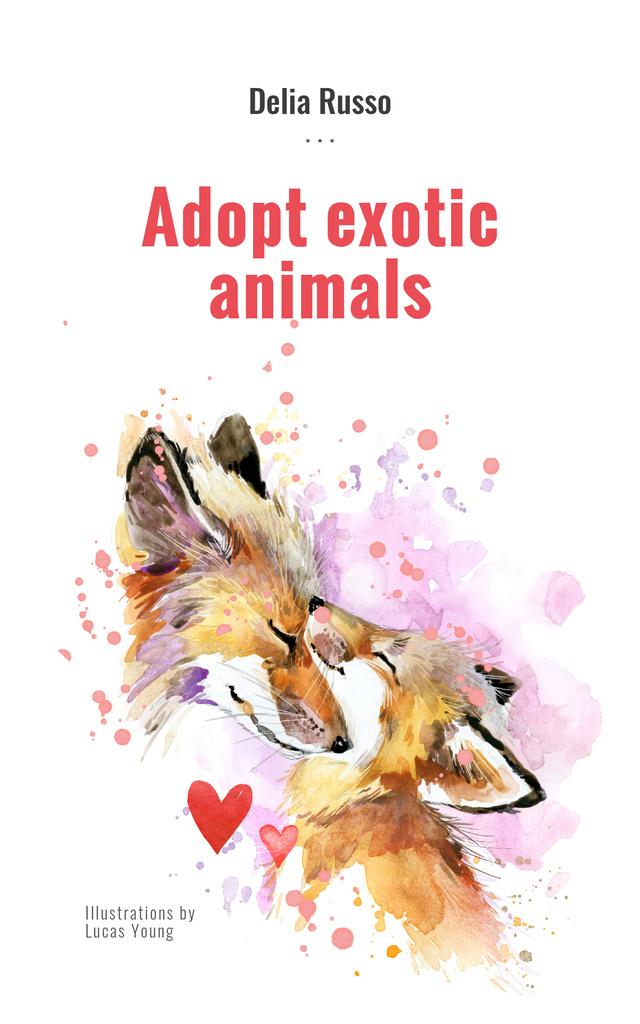 Animals Adoption Fox with Its Cub Book Cover – шаблон для дизайна