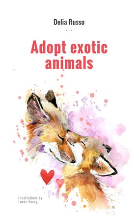 Animals Adoption Fox with Its Cub Book Cover Modelo de Design