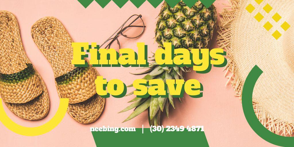 Pineapple and straw flip flops — Створити дизайн
