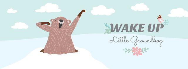Cute funny Groundhog Facebook cover – шаблон для дизайна
