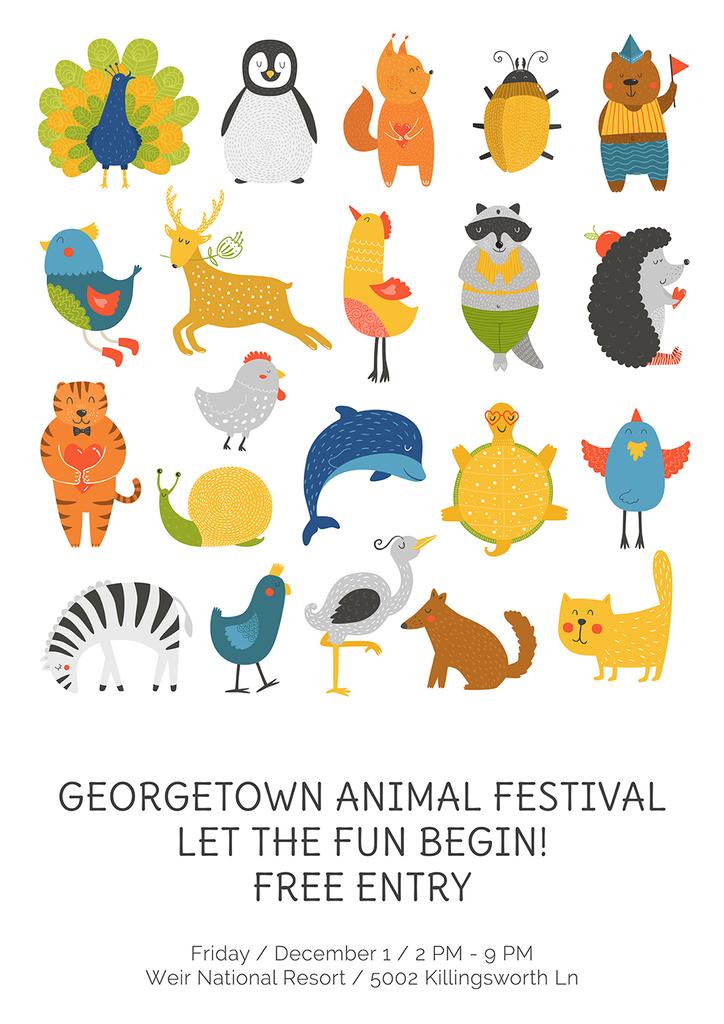 Animal festival with cute cartoon animals — Create a Design