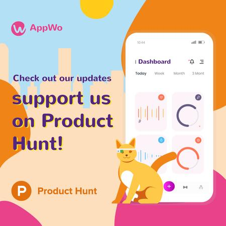 Product Hunt App with Stats on Screen Animated Post Modelo de Design