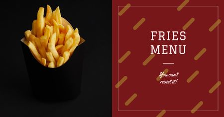 Hot french fries Menu Ad Facebook ADデザインテンプレート