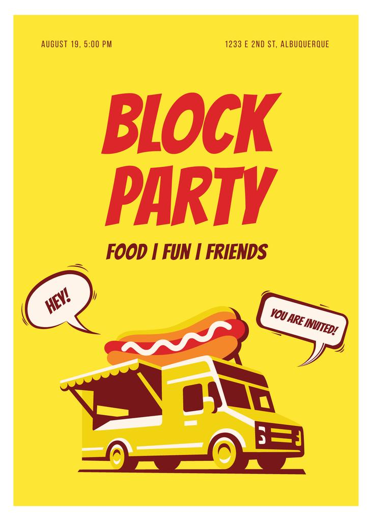 Party Van Delivering Food in Yellow | Invitation Template — ein Design erstellen