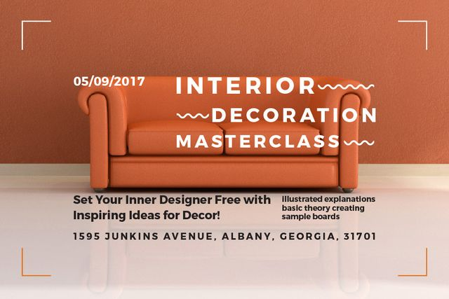 Template di design Interior decoration masterclass Announcement Gift Certificate