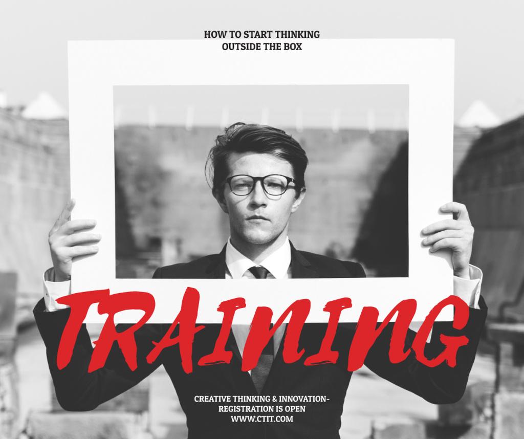 Creativity Training Courses Ad Businessman Holding Frame | Facebook Post Template — Crea un design