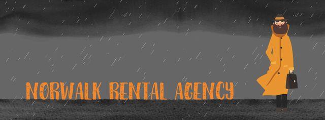 Man waiting under rain Facebook Video cover Design Template