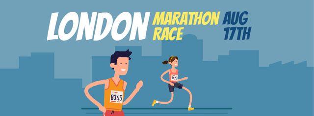 Modèle de visuel People running marathon race - Facebook Video cover