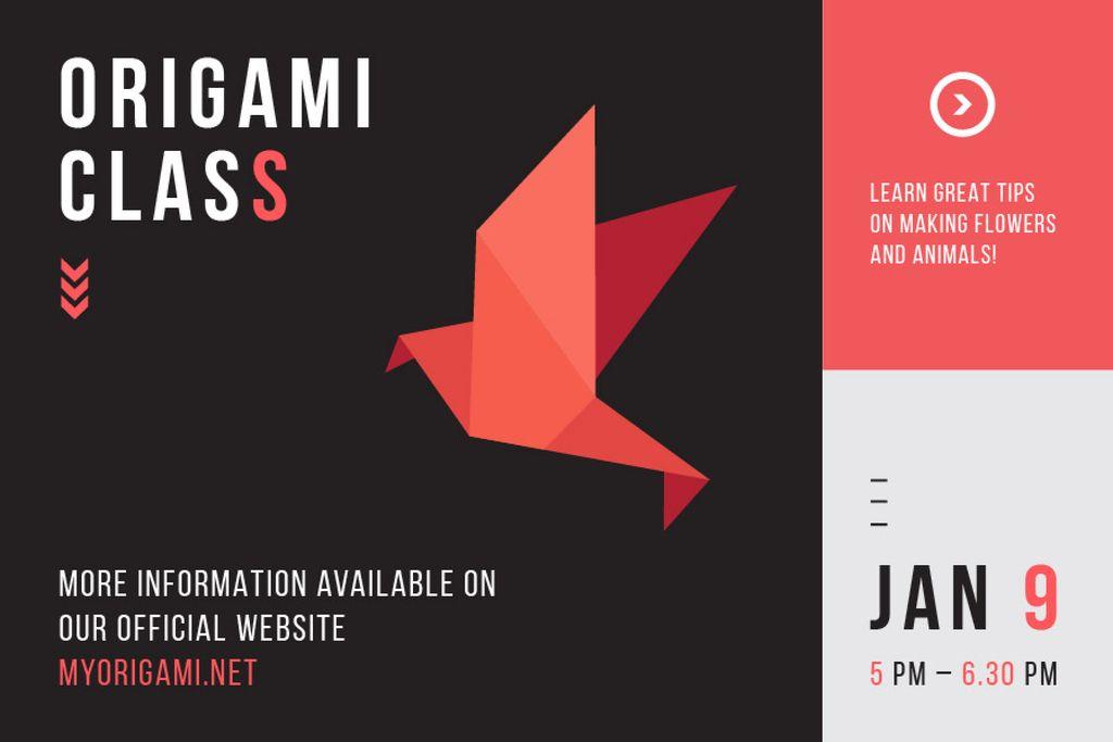 Plantilla de diseño de Origami class Invitation Gift Certificate