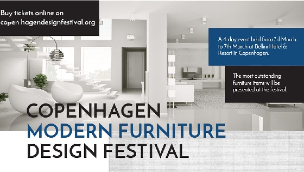 Furniture Festival ad with Stylish modern interior in white — Maak een ontwerp