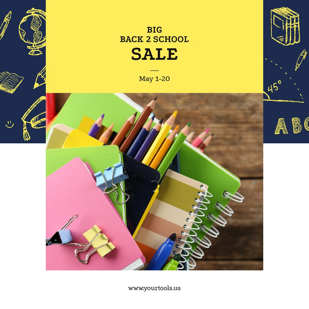 Back to School Sale Colorful School Supplies | Instagram Ad Template — Créer un visuel